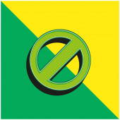 Blockiertes Symbol Grünes und gelbes modernes 3D-Vektor-Symbol-Logo