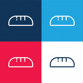 Bread blue and red four color minimal icon set
