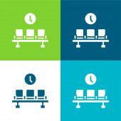 Flughafen Flache vier Farben minimales Symbol-Set