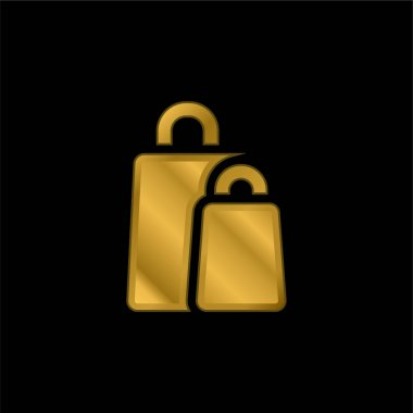 Bags gold plated metalic icon or logo vector stock vector