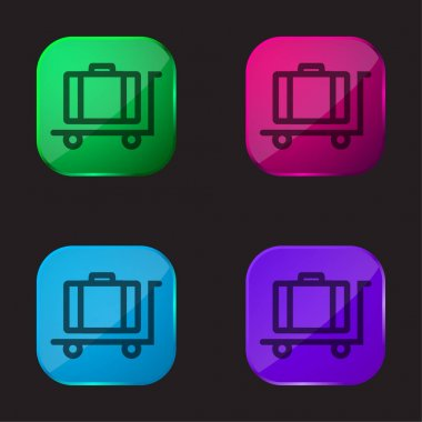 Baggage On Platform Cart Outline four color glass button icon