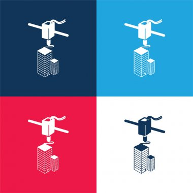 3d Printer Printing blue and red four color minimal icon set