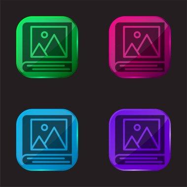 Album four color glass button icon stock vector