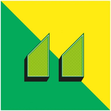 Blocks With Angled Cuts Green and yellow modern 3d vector icon logo