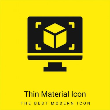 3d Display minimal bright yellow material icon stock vector