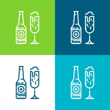Beer Flat four color minimal icon set stock vector