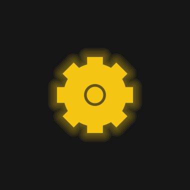 Big Cogwheel yellow glowing neon icon stock vector