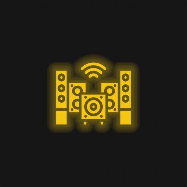 Audio yellow glowing neon icon stock vector