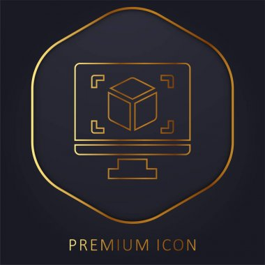 3d Display golden line premium logo or icon stock vector
