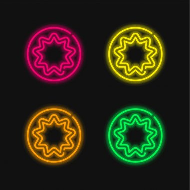 Bahaism four color glowing neon vector icon stock vector