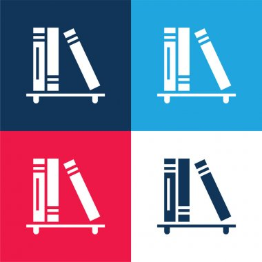 Books blue and red four color minimal icon set stock vector