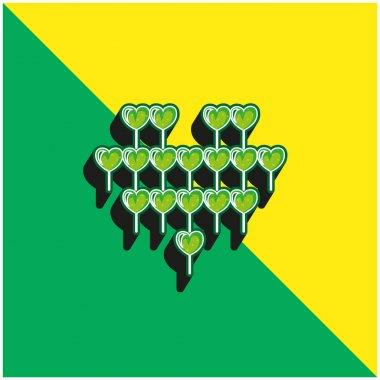 Attractive Heart Balloon Of Multiple Hearts Balloons Green and yellow modern 3d vector icon logo stock vector