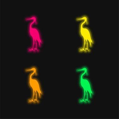 Bird Crane Shape four color glowing neon vector icon stock vector