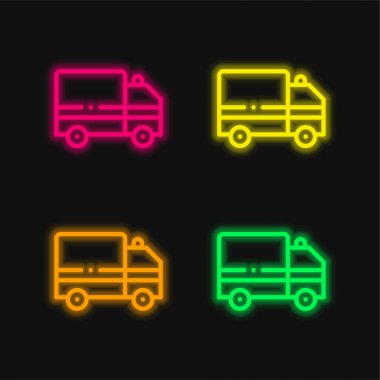 Ambulance four color glowing neon vector icon stock vector