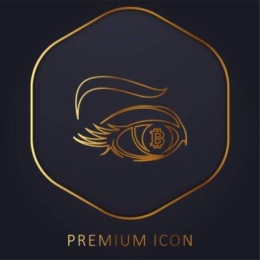 Bitcoin Sign In Eye Iris golden line premium logo or icon stock vector