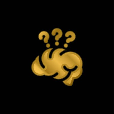 Brain gold plated metalic icon or logo vector stock vector