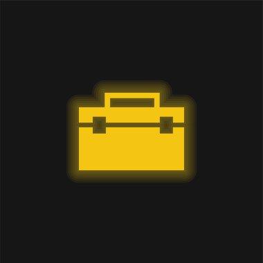 Black Portfolio yellow glowing neon icon