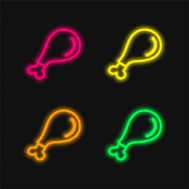 Bird Part Meat Hand Drawn Outline four color glowing neon vector icon stock vector