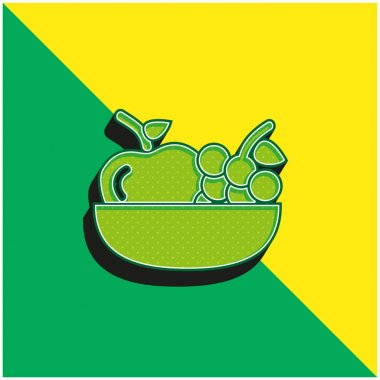 Apple And Grapes On A Bowl Green and yellow modern 3d vector icon logo stock vector