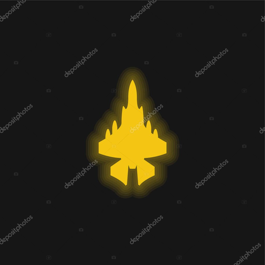 Army Airplane yellow glowing neon icon stock vector