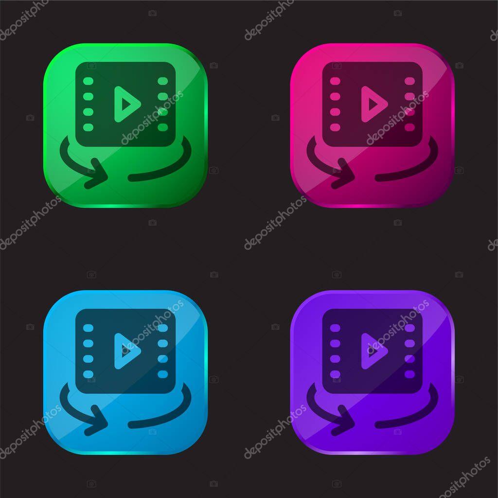 360 Video four color glass button icon stock vector