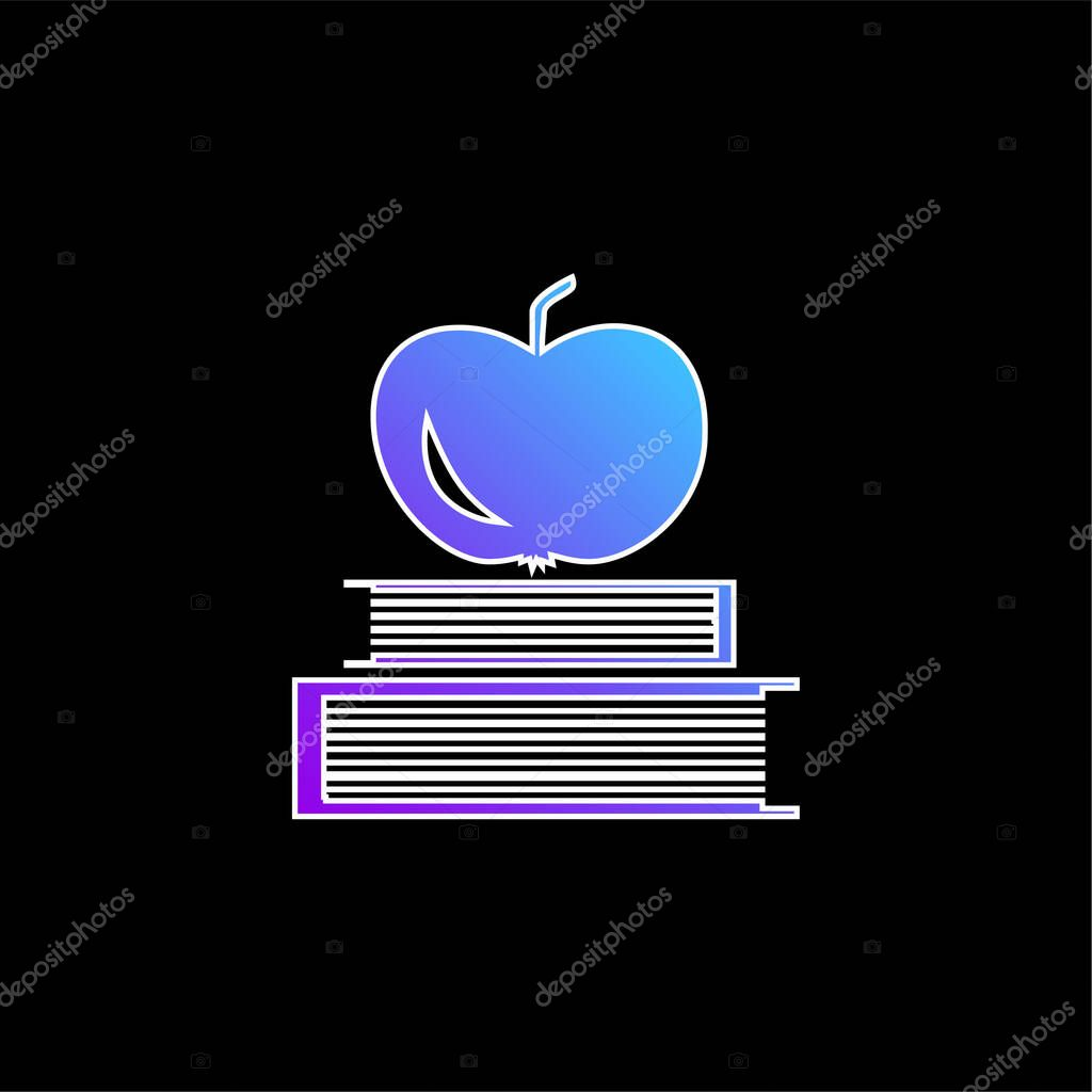 Books And Apple On Top blue gradient vector icon stock vector