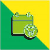 Ernennung Grünes und gelbes modernes 3D-Vektorsymbol-Logo
