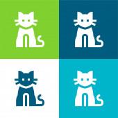 Černá kočka Flat čtyři barvy minimální ikona nastavena
