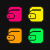 Big Torch four color glowing neon vector icon