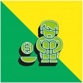 Almosen Grünes und gelbes modernes 3D-Vektor-Symbol-Logo