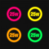 25 Watts Lamp Indicator four color glowing neon vector icon
