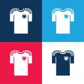 Schwarzes T-Shirt eines Fußballers blaues und rotes Vier-Farben-Minimalsymbolset