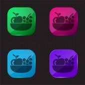 Alma és szőlő egy tálon négyszínű üveg gomb ikon