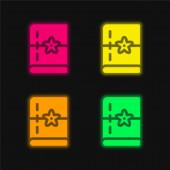 Kniha čtyři barvy zářící neonový vektor ikona