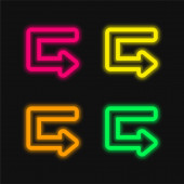 Arrow Broken Outlined Angle four color glowing neon vector icon