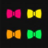 Bow Tie čtyři barvy zářící neonový vektor ikona