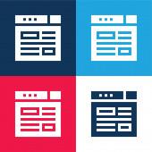 Blogging blau und rot vier Farben minimalen Symbolsatz