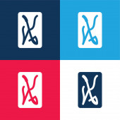 Ace Of Swords blue and red four color minimal icon set