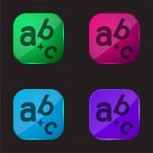 Alphabet four color glass button icon