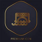 Bridge Over Water goldene Linie Premium-Logo oder Symbol