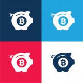 Bitcoin Safe Prase modré a červené čtyři barvy minimální ikona nastavena