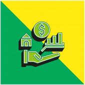 Előnyök Zöld és sárga modern 3D vektor ikon logó