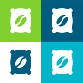 Bag Flat vier Farben minimales Symbol-Set
