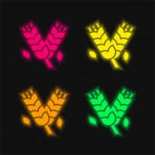 Árpa négy színű izzó neon vektor ikon
