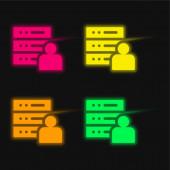 Ikona správce čtyři barvy zářící neonový vektor
