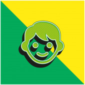 Boy Zöld és sárga modern 3D vektor ikon logó