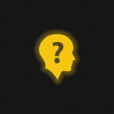 Bald Head With Question Mark yellow glowing neon icon stock vector