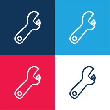 Adjustable Spanner Hand Drawn Construction Tool blue and red four color minimal icon set stock vector