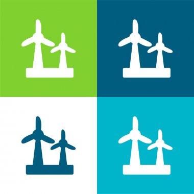 Air Turbine Flat four color minimal icon set stock vector