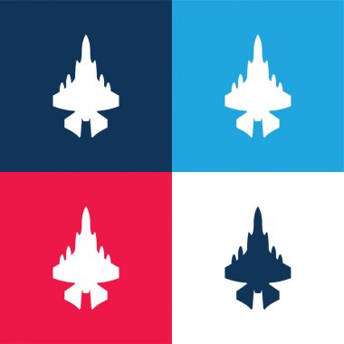 Army Airplane blue and red four color minimal icon set stock vector